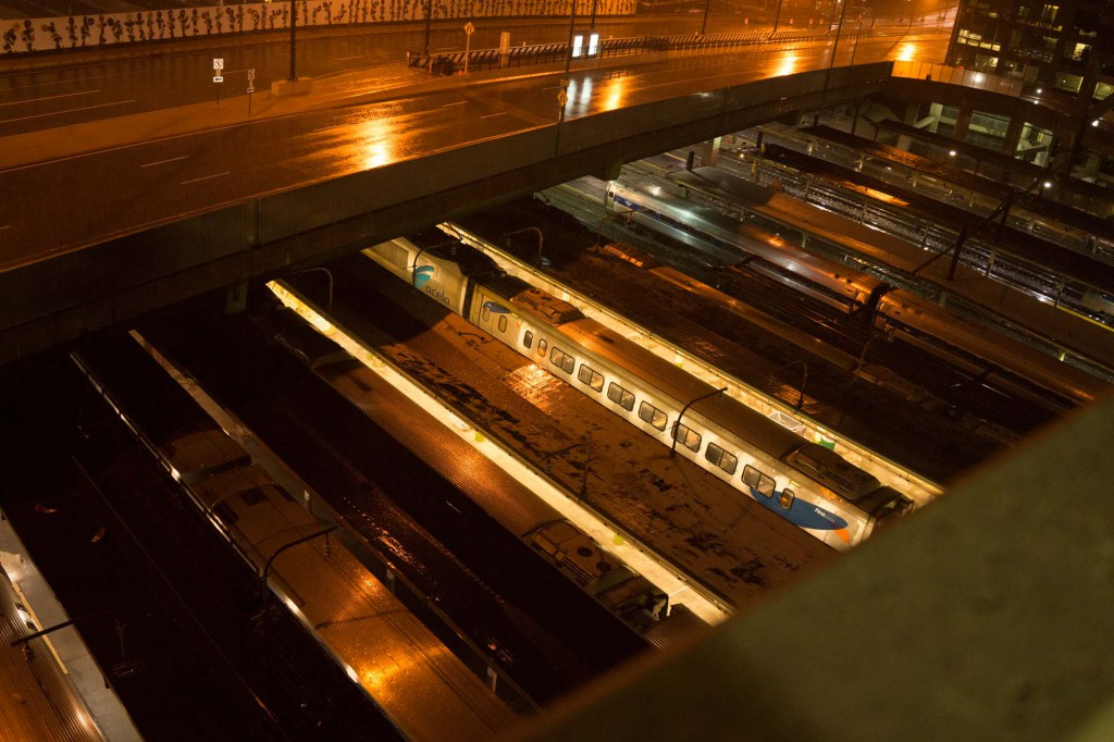 View of the trains from the Union Station parking garage